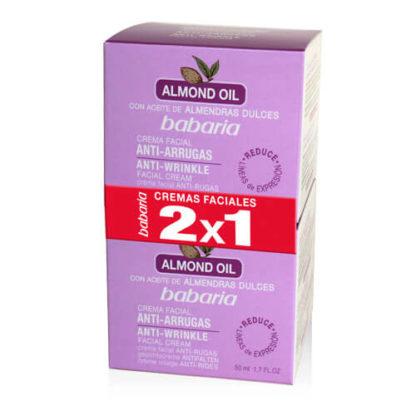 BABARIA Crema facial anti-arrugas con aceite de almendras, anti-wrinkle facial cream, 50 ml