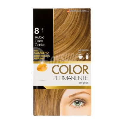 DELIPLUS Color Permanente Nº8.1 Rubio dorado ceniza, Golden blonde