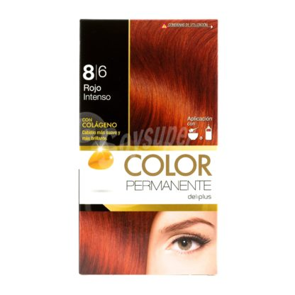 DELIPLUS Color Permanente Nº 8.6 Rojo intenso, Intense red